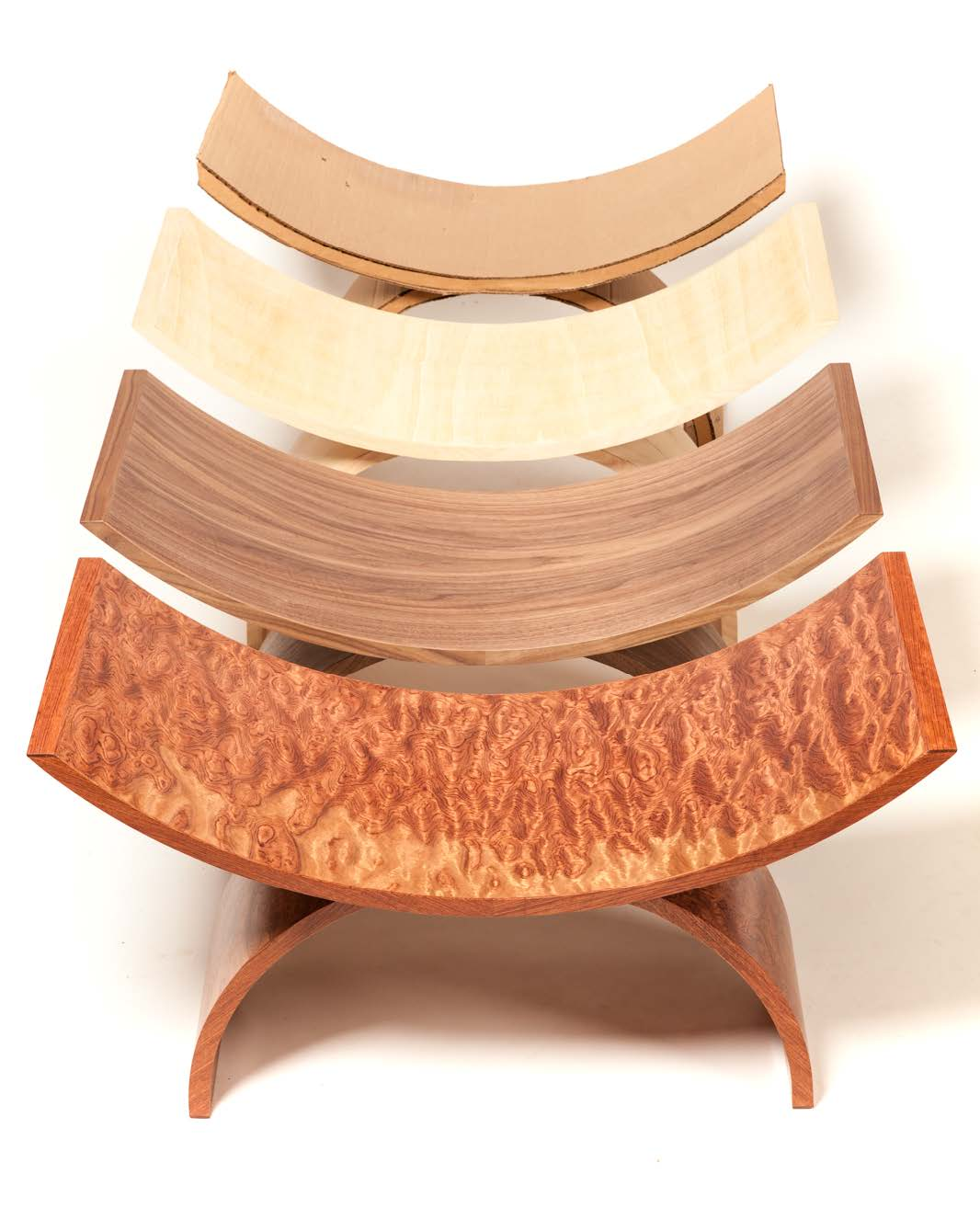 Double Arch Chair | Bubinga Veneer | Custom Wood Furniture